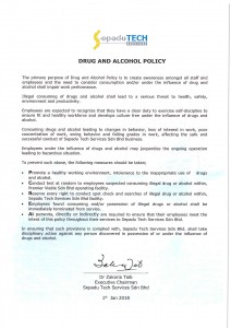 2. Drug & Alcohol Policy 2018