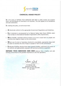 3. Chemical Usage Policy 2018